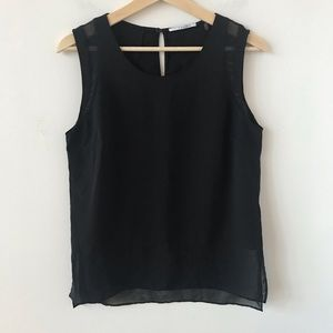 T Tahari black mesh detail sleeveless top